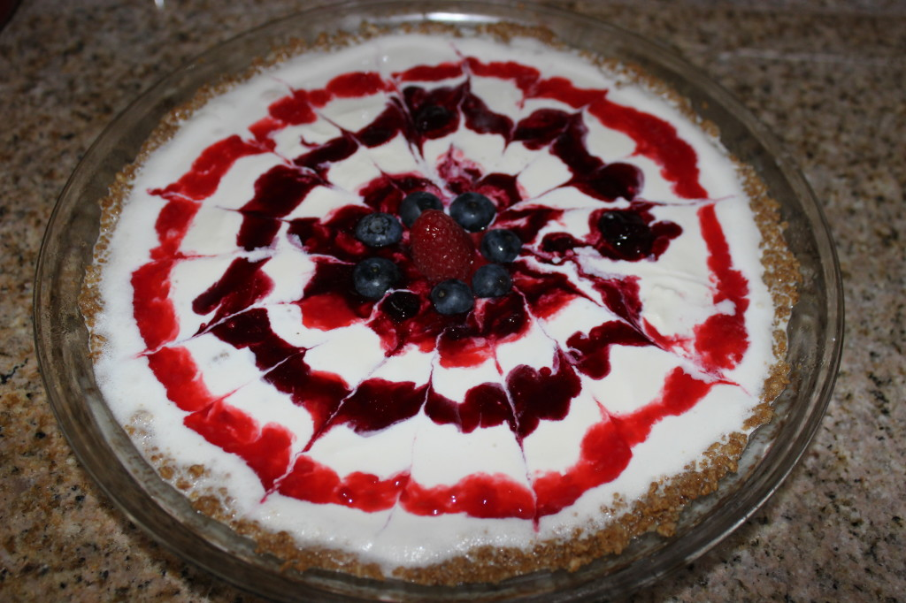 Red, White, and Blueberry Ice Cream Pie with Granola Crust