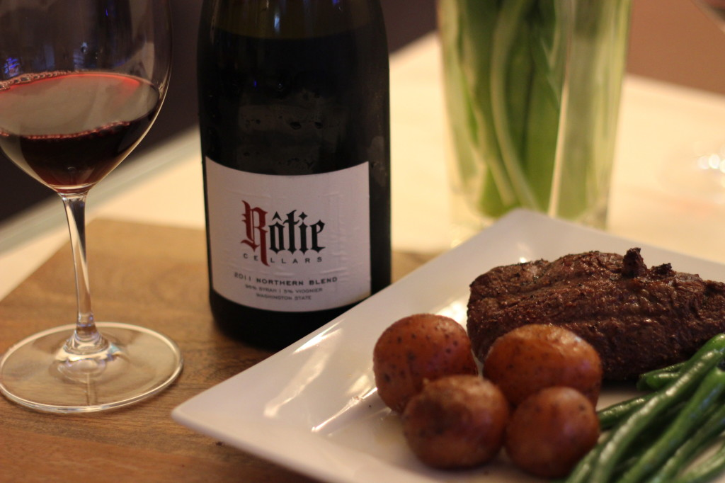 Rotie's Northern Rhone style red with steak - the perfect meal for Valentine's Day | Wander & Wine