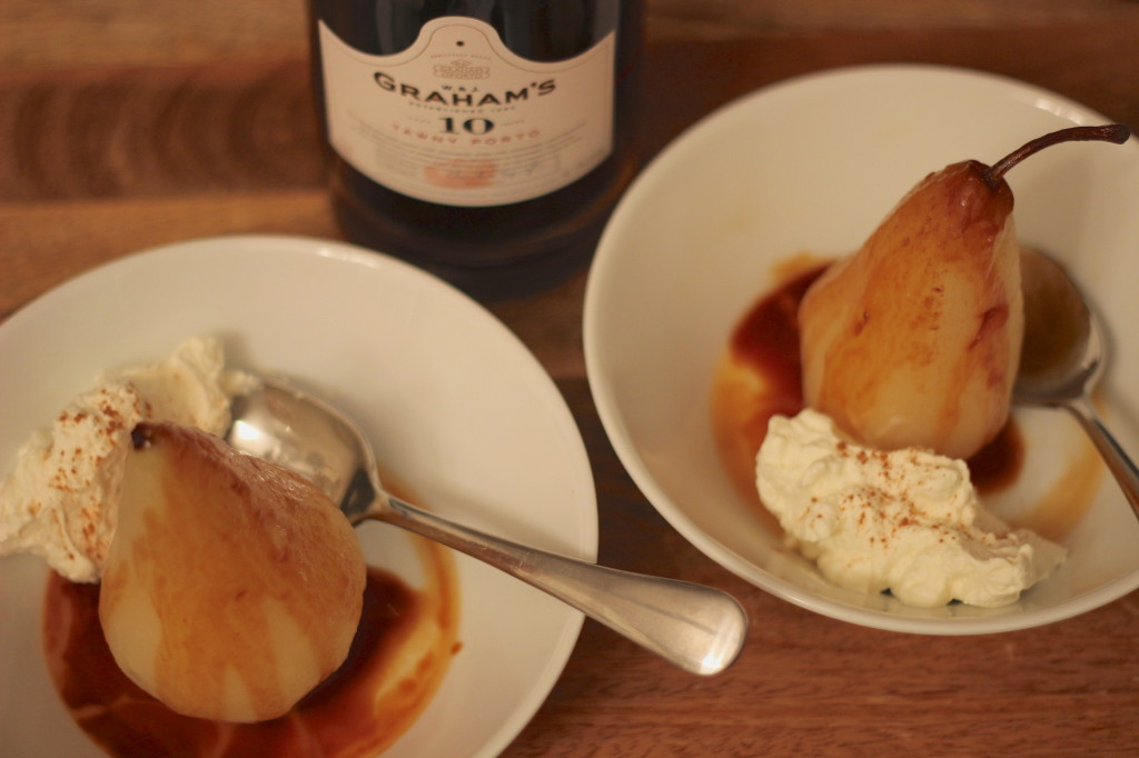 Cinnamon Poached Pears with Caramel & Tawny Port | Wander & Wine